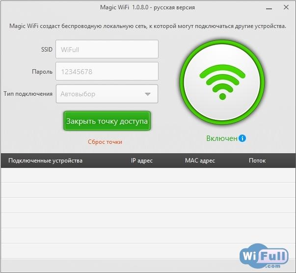 Скачать magic wifi программа для раздачи wifi с ноутбука для windows.